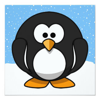 "Cute Penguin 5.25"" Square Invitation Card"