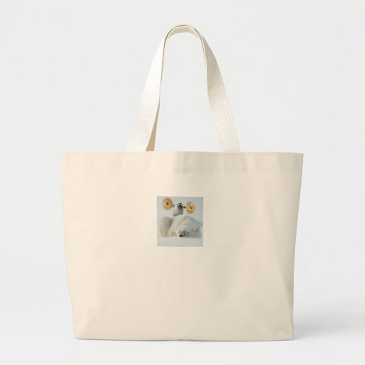 Cute penguin and polar bear with cymbals in snow canvas bags