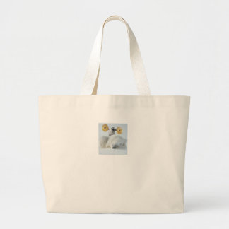 Cute penguin and polar bear with cymbals in snow jumbo tote bag