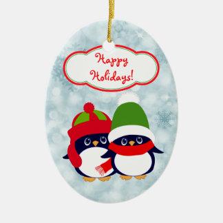Cute Penguin Babies Blue Bokeh Ceramic Ornament