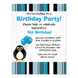Cute Penguin Birthday Blue Stripe Party Invitation