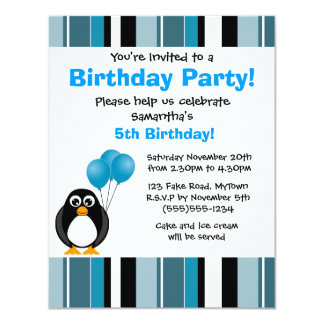 Cute Penguin Birthday Blue Stripe Party Invitation