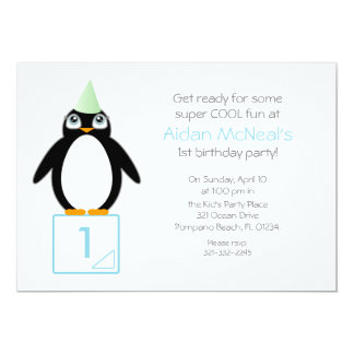 cute penguin BIRTHDAY PARTY invitation MINT
