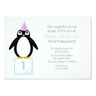 cute penguin BIRTHDAY PARTY invitation PURPLE