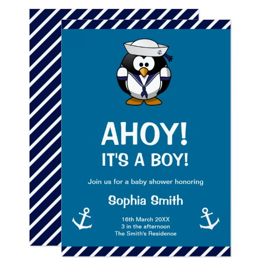 Cute Penguin Blue Nautical Baby Shower Invitation