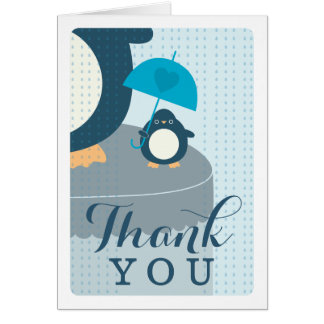 Cute Penguin Boy Blue Thank You Note Card
