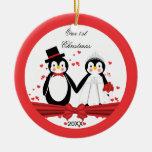 Cute Penguin Bride & Groom Wedding 1st Christmas Round Ceramic Ornament