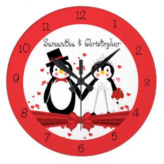Cute Penguin Bride & Groom Wedding Wall Clock