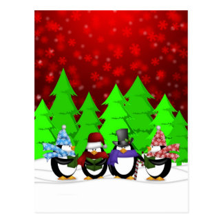 Cute Penguin Carolers Postcard
