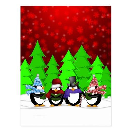 Cute Penguin Carolers Postcard