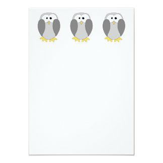 "Cute Penguin Cartoon. 5"" X 7"" Invitation Card"