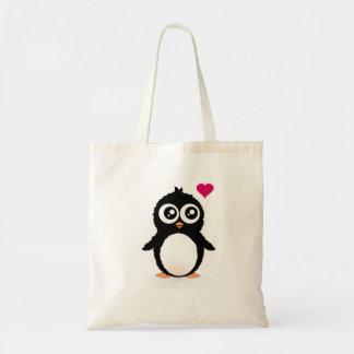 Cute penguin cartoon budget tote bag
