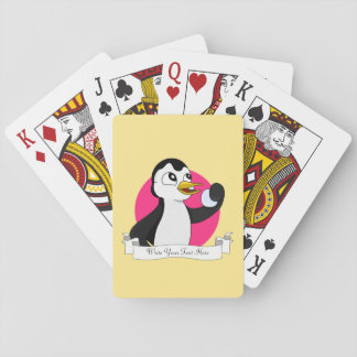 Cute penguin cartoon playing cards