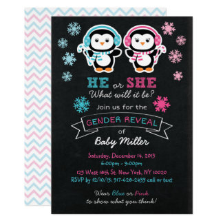 Cute Penguin Chalkboard Gender Reveal Card