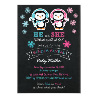 Cute Penguin Chalkboard Gender Reveal Invitations