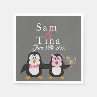 Cute penguin & chalkboard wedding napkins