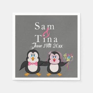 Cute penguin & chalkboard wedding napkins disposable napkin