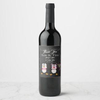 Cute penguin & chalkboard wedding wine label