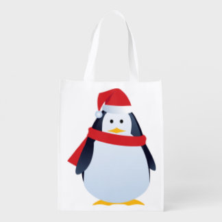 Cute Penguin Christmas design Grocery Bag