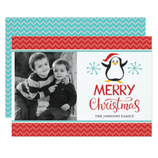Cute Penguin  Christmas/Holiday Photo Card