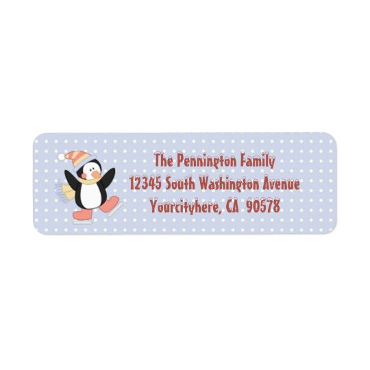 Cute penguin Christmas return address labels