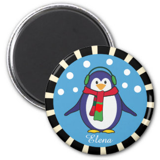 Cute Penguin Christmas with your name Magnet