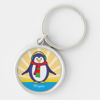 Cute Penguin Christmas with your name Silver-Colored Round Keychain