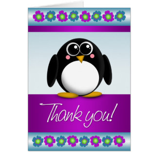 Cute Penguin Colorful Floral Thank You Note Card