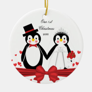 Cute Penguin Couple Wedding 1st Christmas Ornament