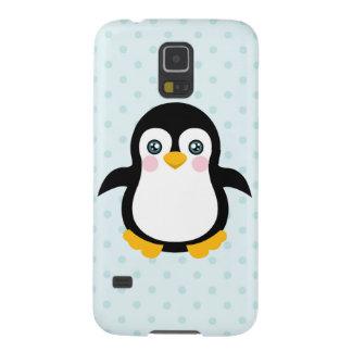 Cute Penguin Design Blue Polka Dot Background Galaxy S5 Case