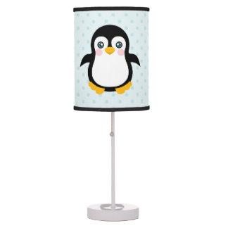 Cute Penguin Design Blue Polka Dot Background Table Lamp