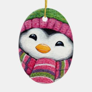 Cute Penguin Dressed for Snow Ceramic Ornament