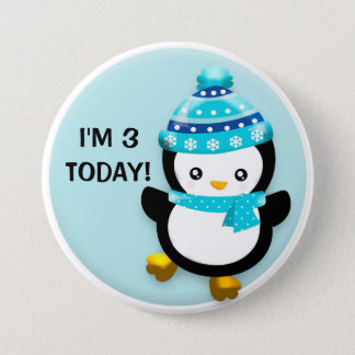 Cute Penguin in Blue Snowflake Hat Birthday Button
