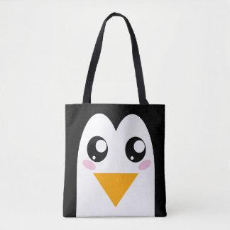 Cute Penguin   Kawaii Bird Face Tote Bag