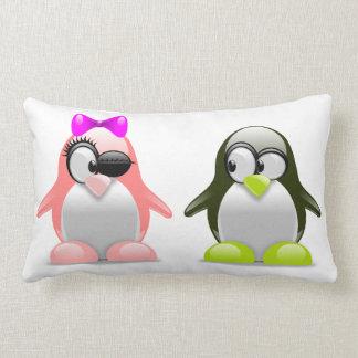Cute penguin lovebirds. lumbar pillow