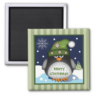 Cute Penguin & Merry Christmas text Magnet