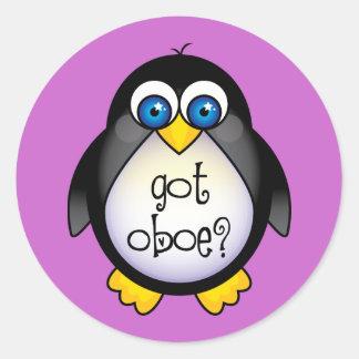Cute Penguin Music Got Oboe Classic Round Sticker