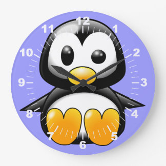 Cute Penguin on Blue  Wall Clock