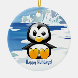 Cute Penguin on Ice Ceramic Ornament