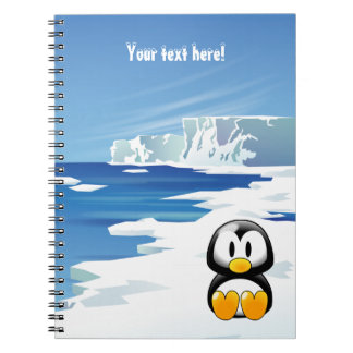 Cute Penguin on Ice Spiral Note Book