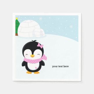 Cute penguin paper napkin