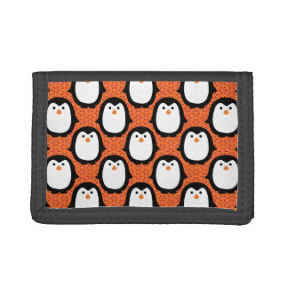 Cute Penguin Pattern Skin Trifold Wallets