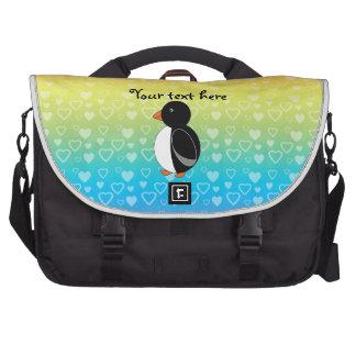 Cute penguin rainbow hearts laptop commuter bag