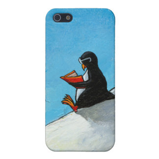 Cute penguin reading fun whimsical original art iPhone 5 covers
