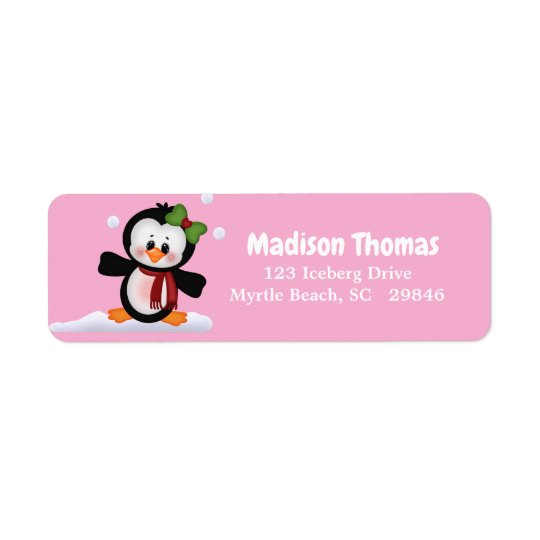 Cute Penguin Return Address Label