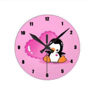 Cute Penguin Round Clock