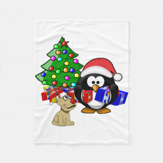 Cute Penguin Santa and Reindeer Dog Fleece Blanket