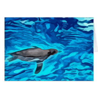 cute penguin swimming in blue water painting card