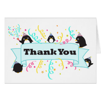 Cute penguin thank you card-white card