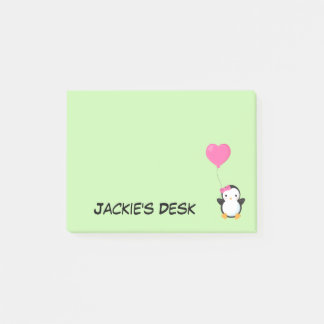 Cute Penguin w/Pink Bow and Pink Heart Balloon Post-it Notes
